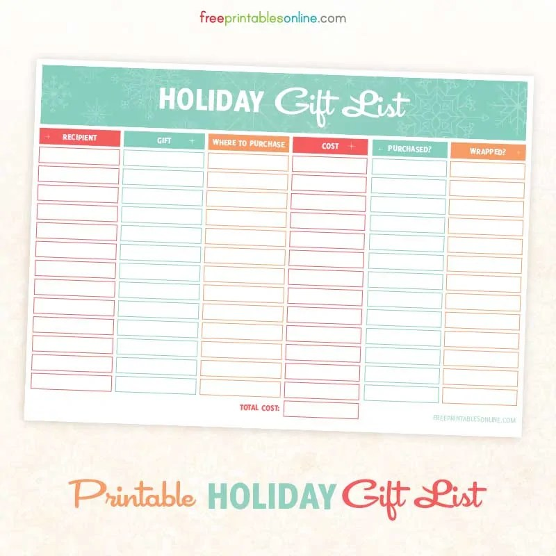 Free Printable Holiday Gift and Shopping List