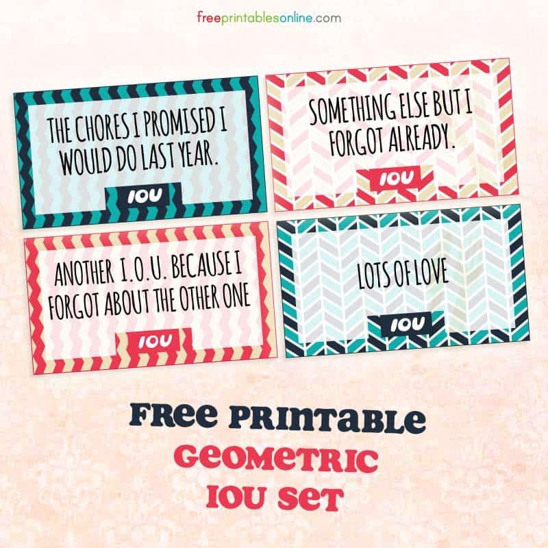 Geometric Printable IOU Coupons Free Printables Online - diy printable coupons