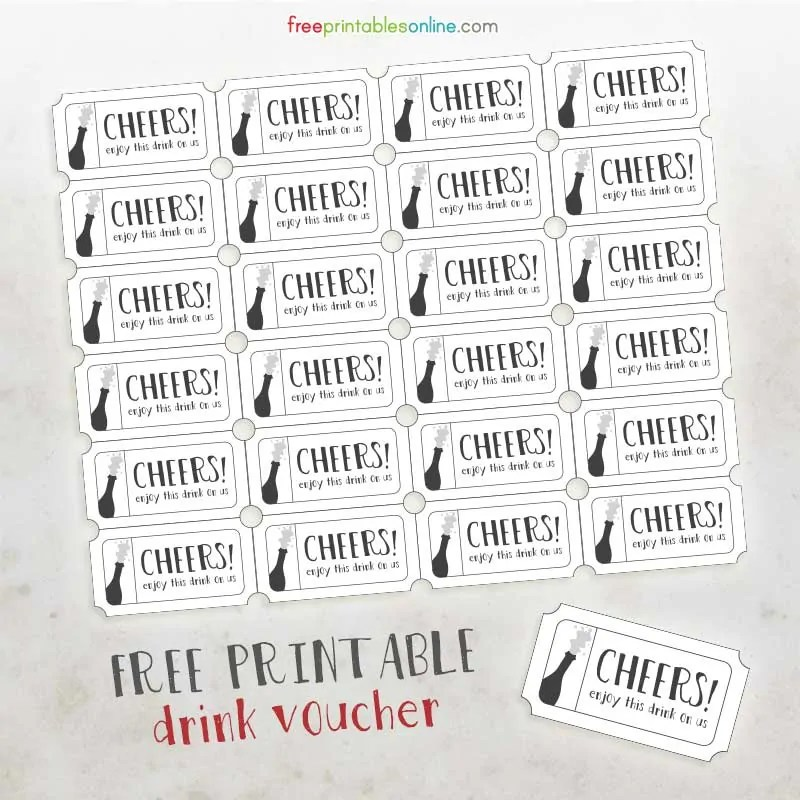 Cheers Free Printable Drink Vouchers - Free Printables Online