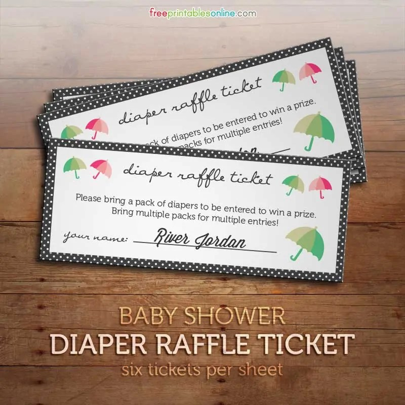 Free Printable Diaper Raffle Tickets for Baby Showers