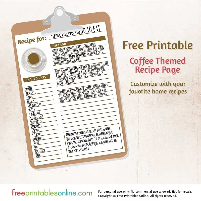 Coffee Themed Free Printable Blank Recipe Page - Free Printables Online