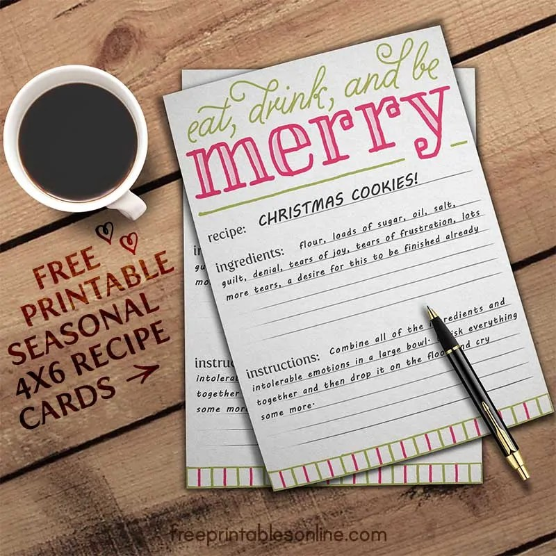 Eat, Drink, and Be Merry Holiday Recipe Card Template Free