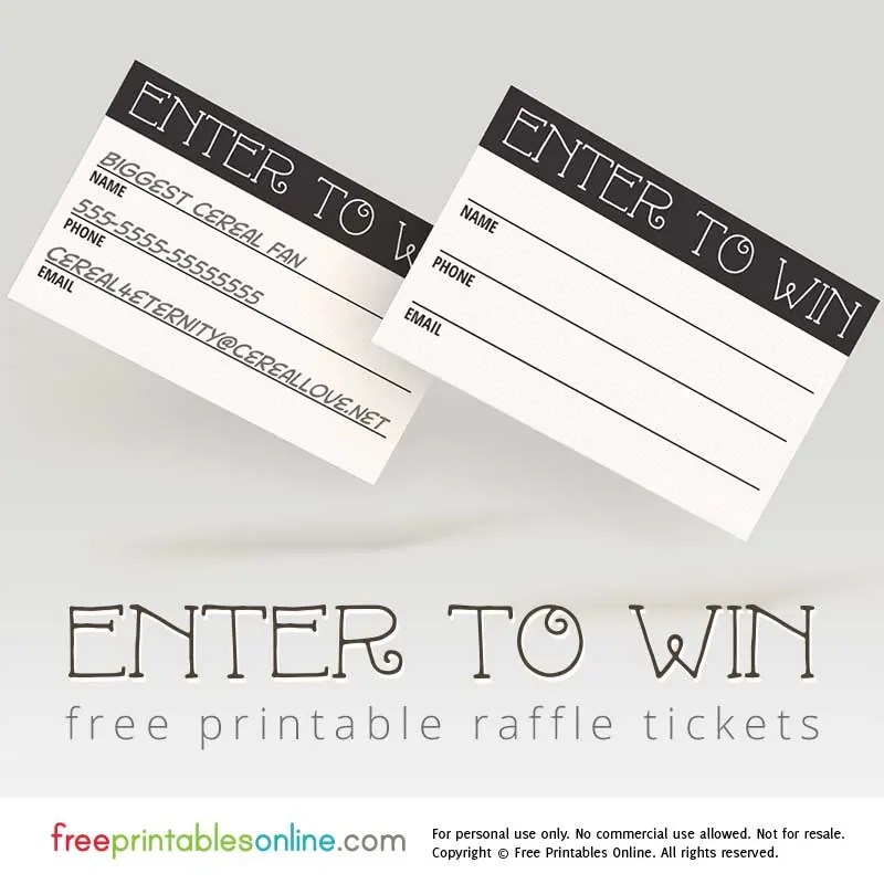 Enter to Win Printable Raffle Tickets Free Printables Online - print raffle tickets free online