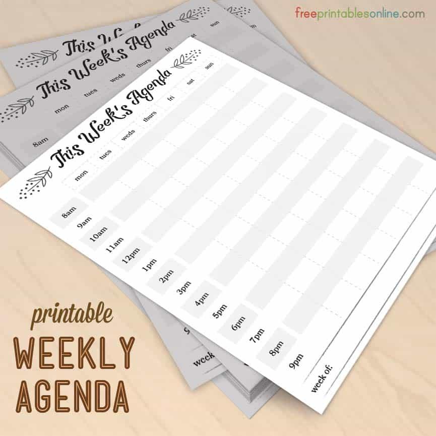 Modern Elements Printable Weekly Agenda Free Printables Online - weekly agenda