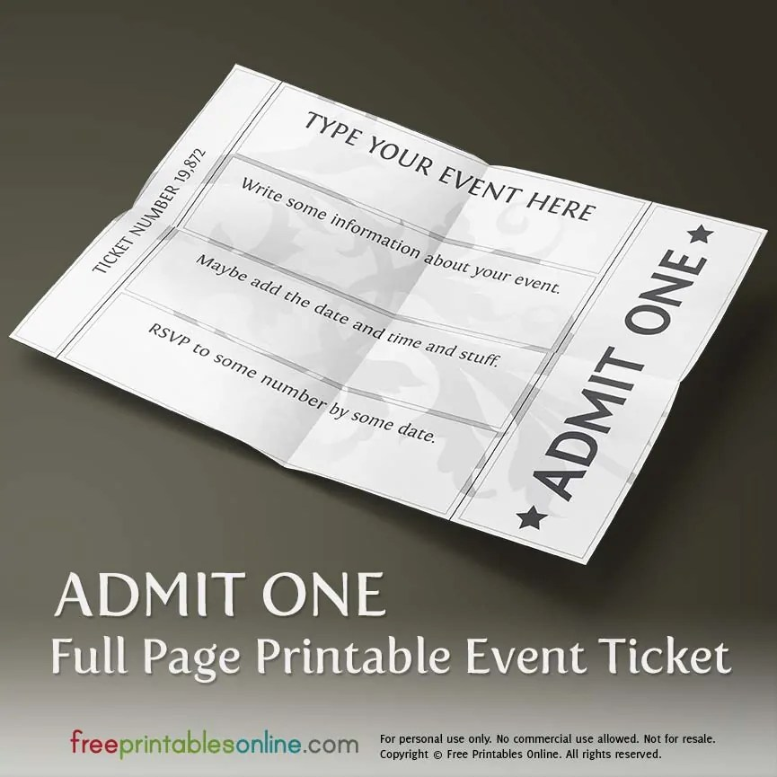 Printable Full Page Ticket Template Free Printables Online - free printable event ticket templates