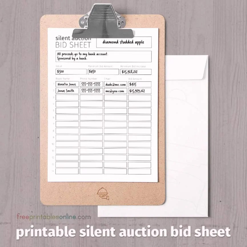 Black and White Printable Silent Auction Bid Sheet - Free Printables