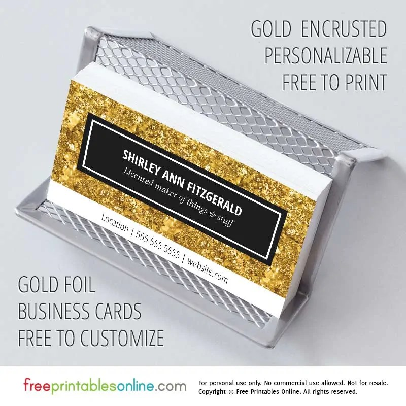 Elegant  Fancy Gold Personalized Business Cards Free Printables