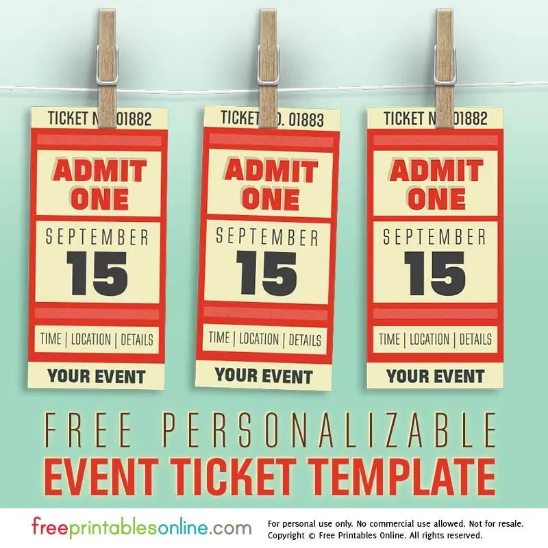 Free Personalized Event Ticket Template Free Printables Online - party ticket template free