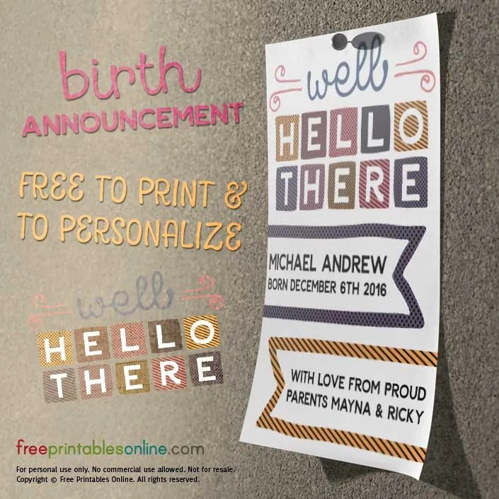 Well Hello There! Printable Baby Announcement Free Printables Online