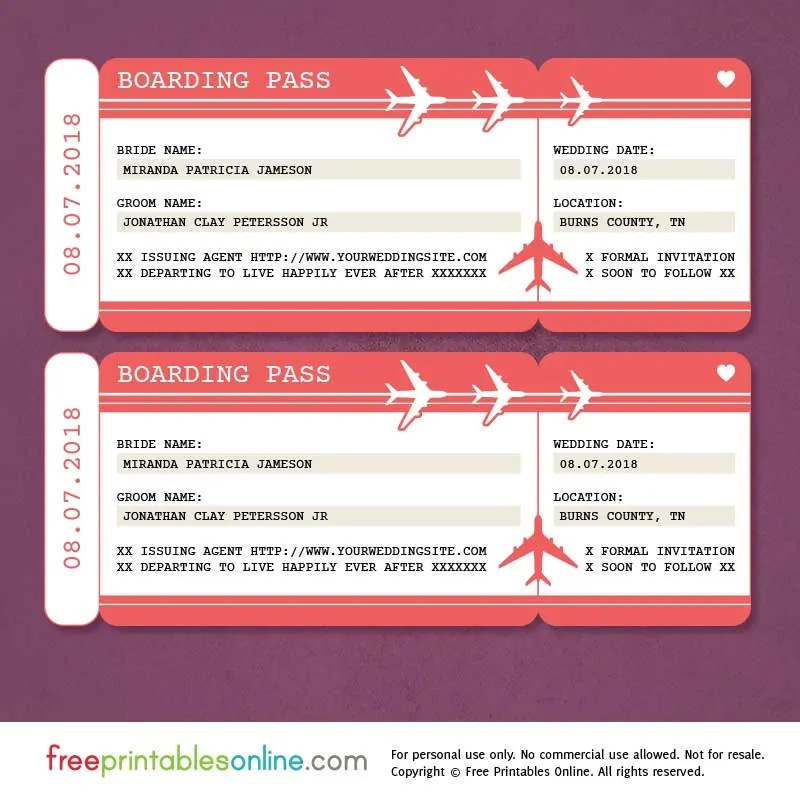 Red Boarding Pass Save the Date Template Free Printables Online - boarding pass template
