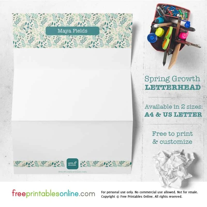 Spring Growth Free Personalized Printable Letterhead - Free