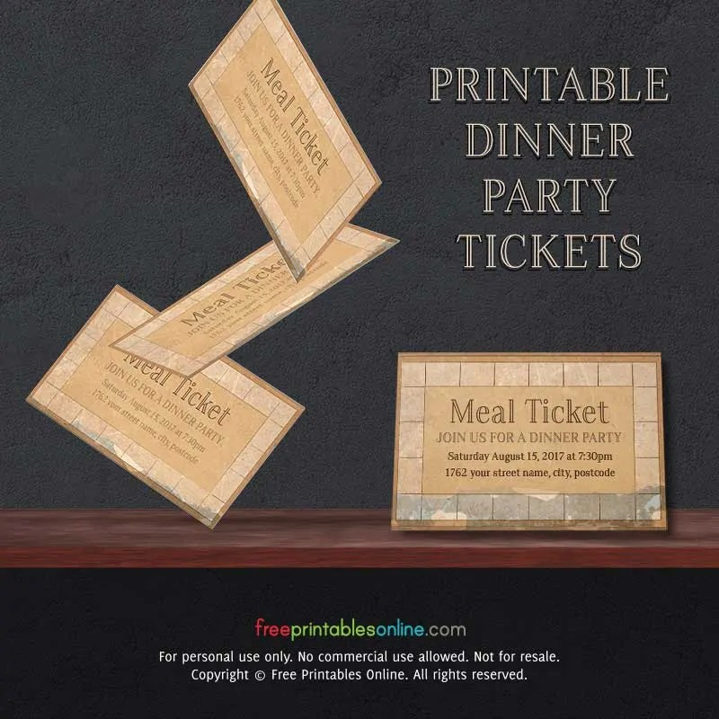 Vintage Paper Printable Meal Ticket Template Free Printables Online - party ticket template free