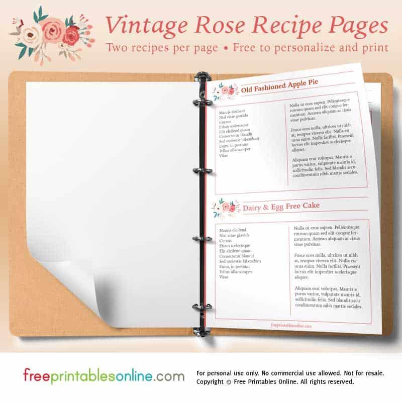 Rose Printable Vintage Recipe Pages - Free Printables Online
