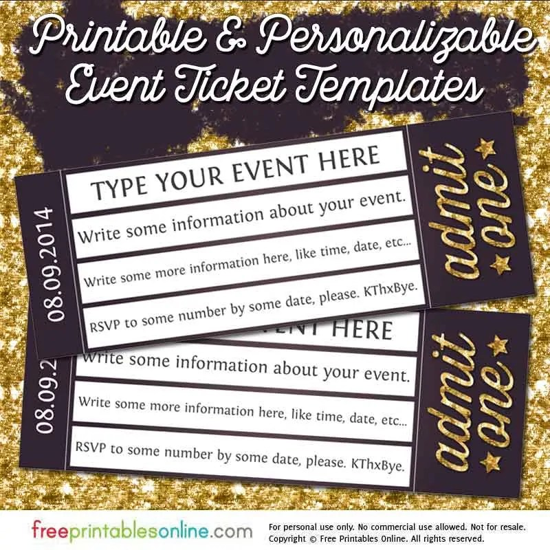 Admit One Gold Event Ticket Template Free Printables Online - Concert Ticket Templates