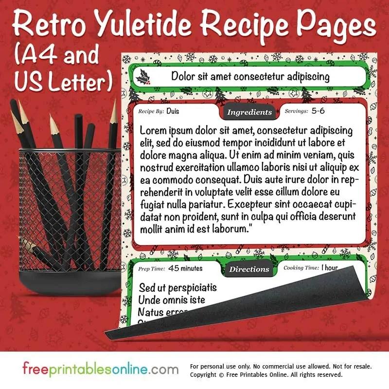 Retro Yuletide Printable Christmas Recipe Pages Free Printables Online