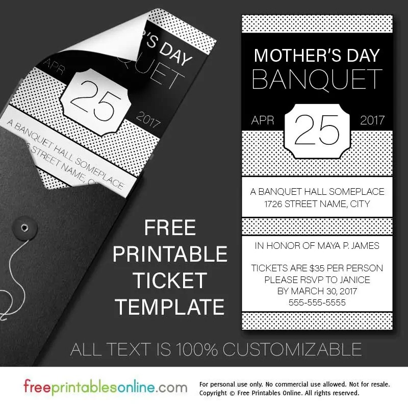 Free Printable Banquet Ticket Template - Free Printables Online