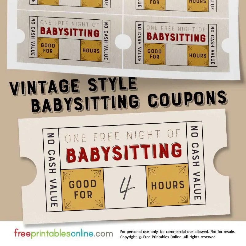 Vintage Style Free Babysitting Coupon Template - Free Printables Online
