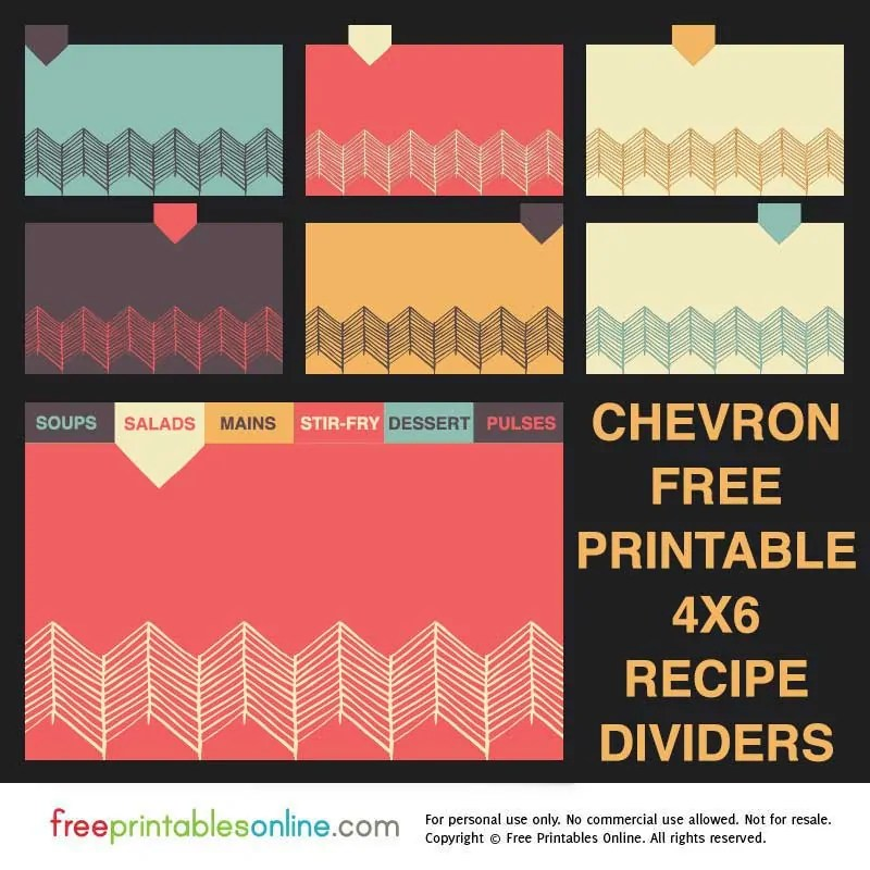 Chevron 4x6 Recipe Divider Cards - Free Printables Online