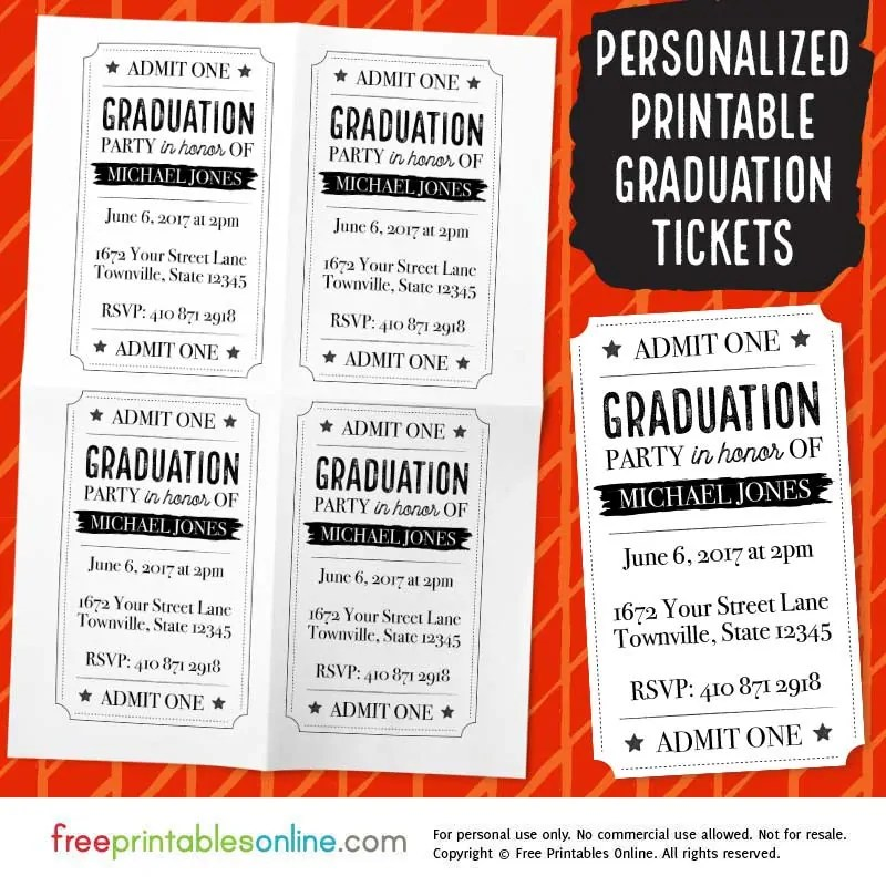 Printable Vintage Barrel Graduation Party Tickets Free Printables - party ticket template free