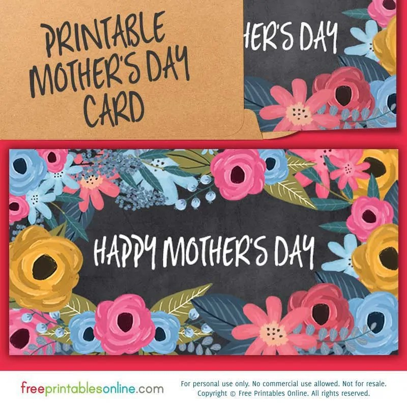 Painted Fleur Happy Mother\u0027s Day Card to Print Free Printables Online - online printable mothers day cards