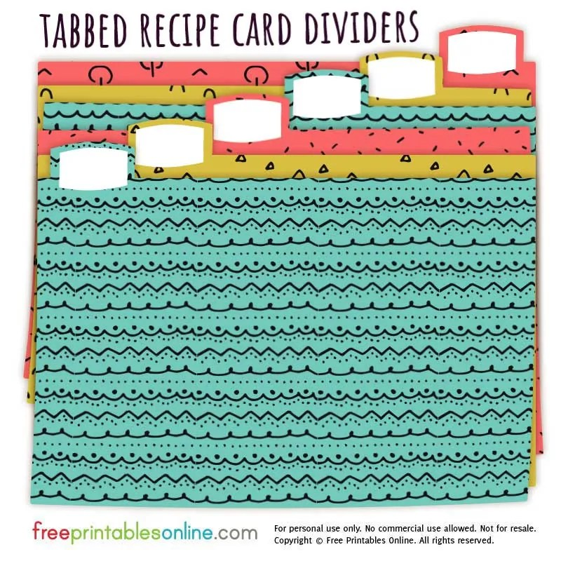 Doodle Patterns Recipe Card Box Dividers - Free Printables Online
