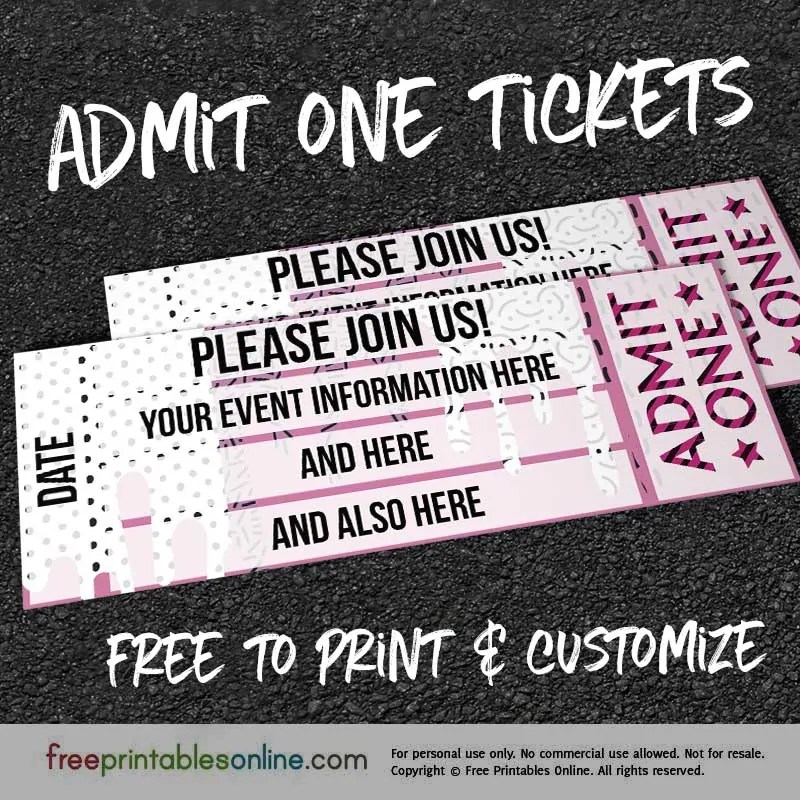 Drip Drop Admit One Ticket Template - Free Printables Online