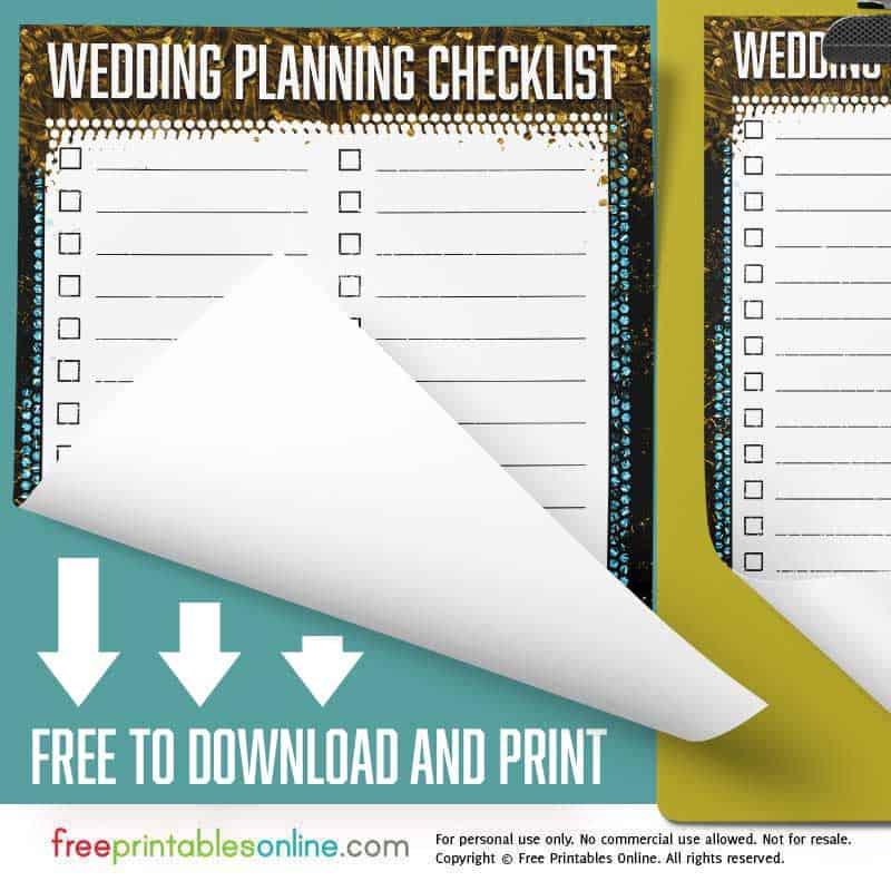 Free Printable Personalized Wedding Planning Checklist Free