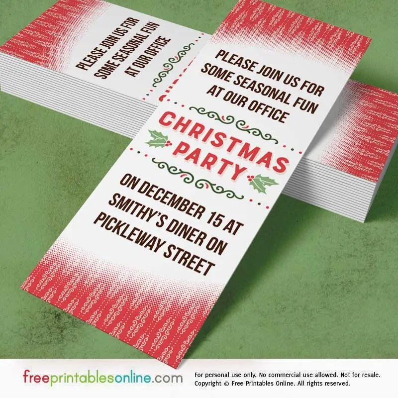 Holly Red Printable Office Christmas Party Invitations - Free
