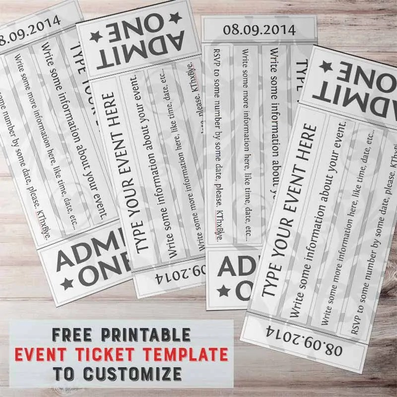 Free Printable Event Ticket Template to Customize - free printable event tickets template