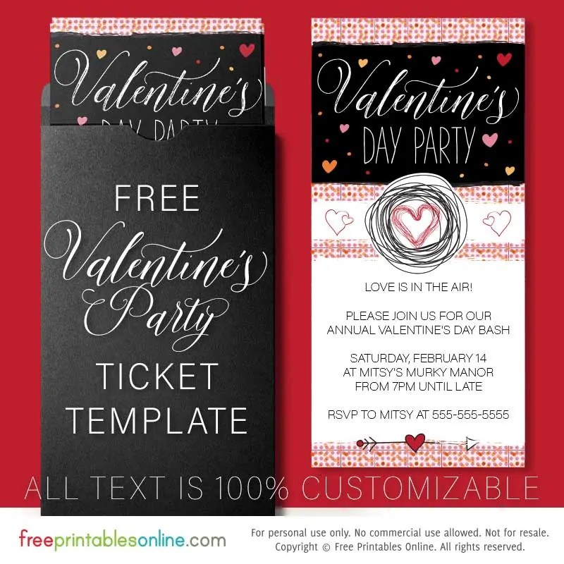 Valentine\u0027s Day Party Invitation Template - Free Printables Online - 's day party invitation
