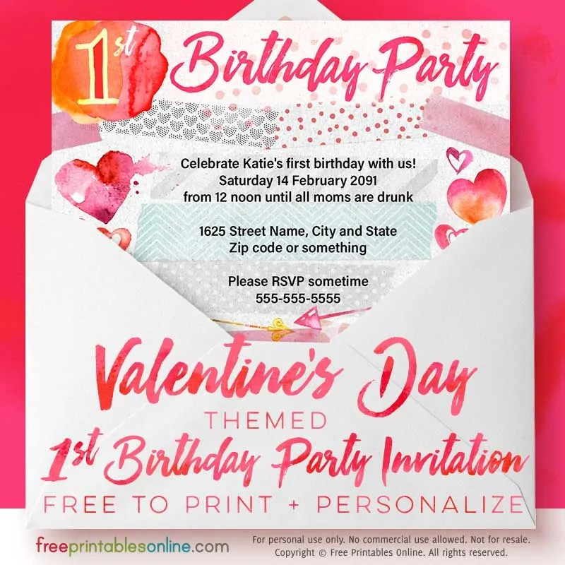 Valentine\u0027s Day 1st Birthday Party Invitations Free Printables - 's day party invitation