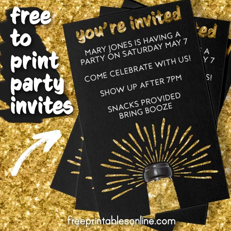 Champagne Business Card Party Invites - Free Printables Online