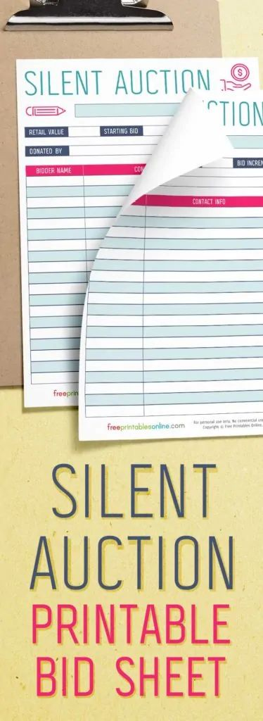 silent auction template free