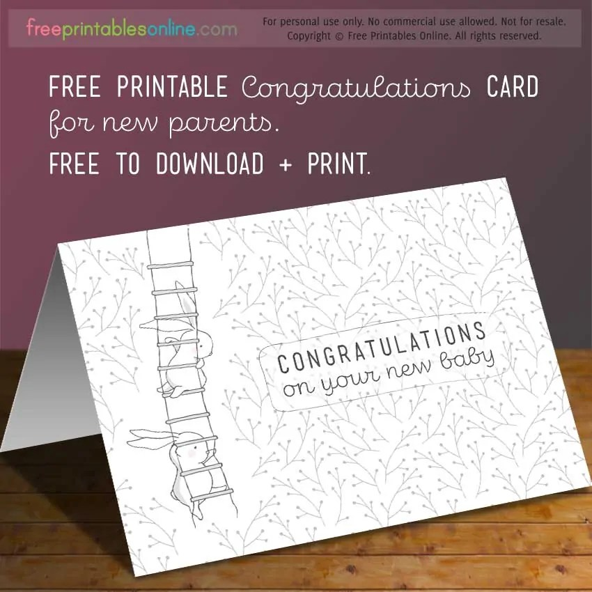 Congratulations on Your New Baby Card - Free Printables Online