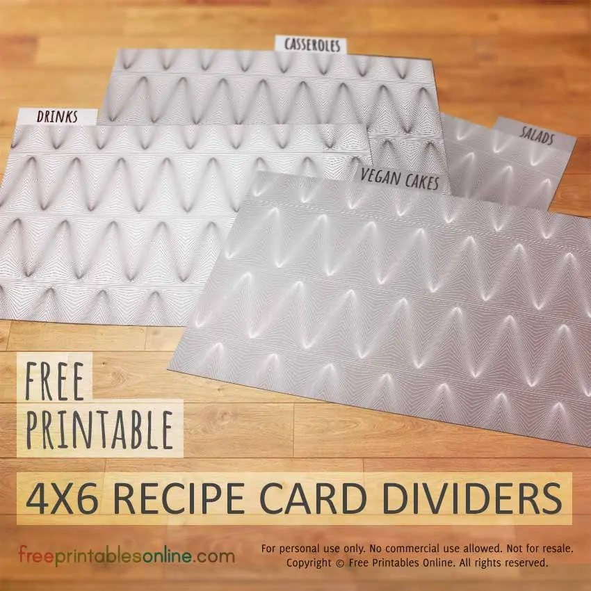Peaks and Troughs 4x6 Recipe Card Dividers - Free Printables Online