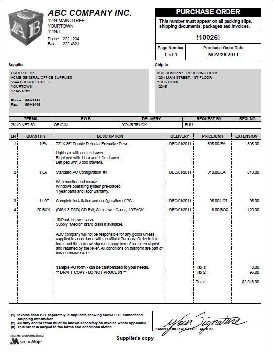 Screen Shots The Free-Procurement Project - purchase order form free