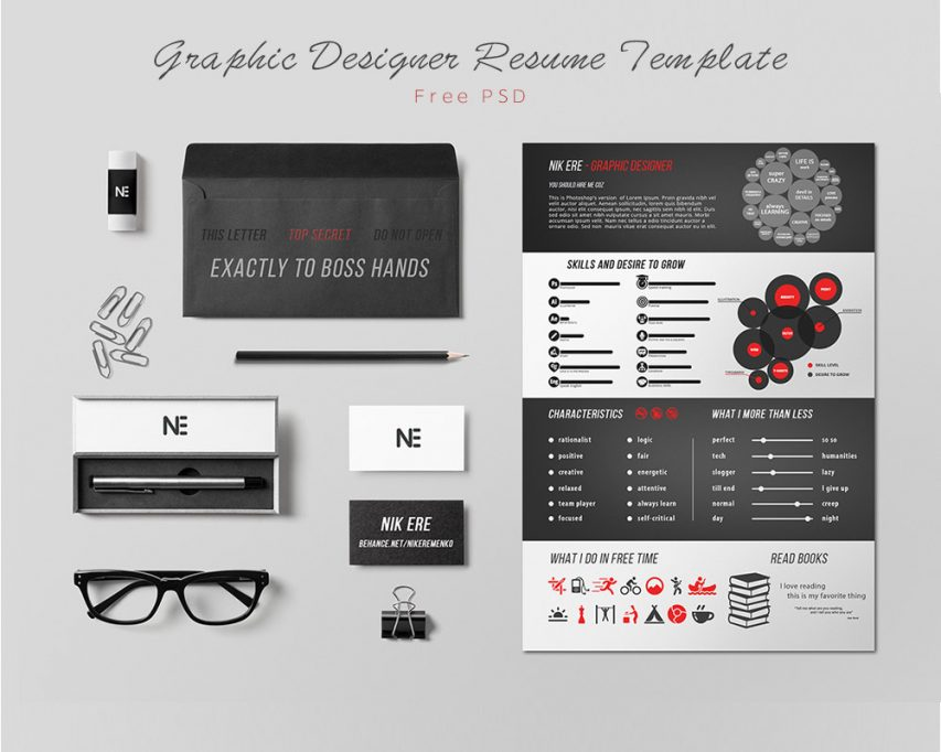 Free Graphic Designer Resume Template Free PSD at FreePSDcc