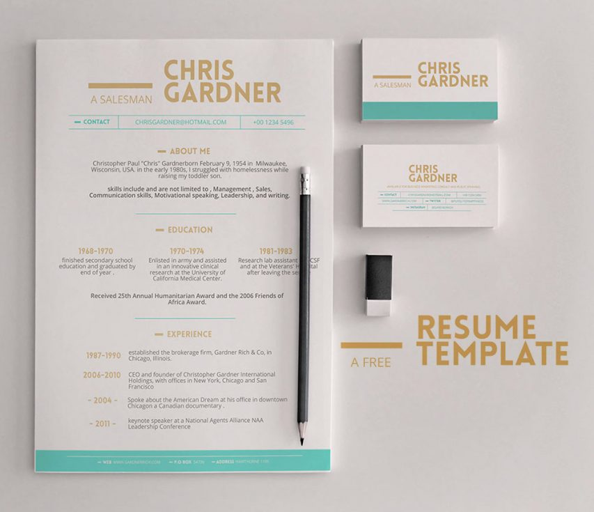 Free Minimalistic Free Resume and Business Card Template PSD at - resume business cards