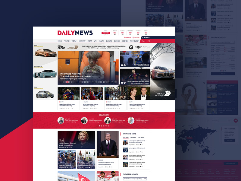 Free News and Magazine Website Template Free PSD at FreePSDcc