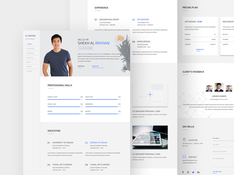 Free One Page CV Resume Template PSD at FreePSDcc - website resume templates