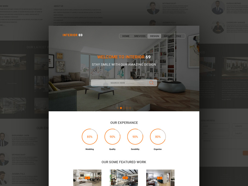 Free One Page Interior Design Website Template PSD at FreePSDcc - interior design web template