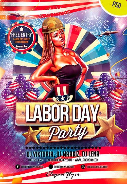 Labor Day Free Flyer PSD Template PSD Download FreePSDFlyer