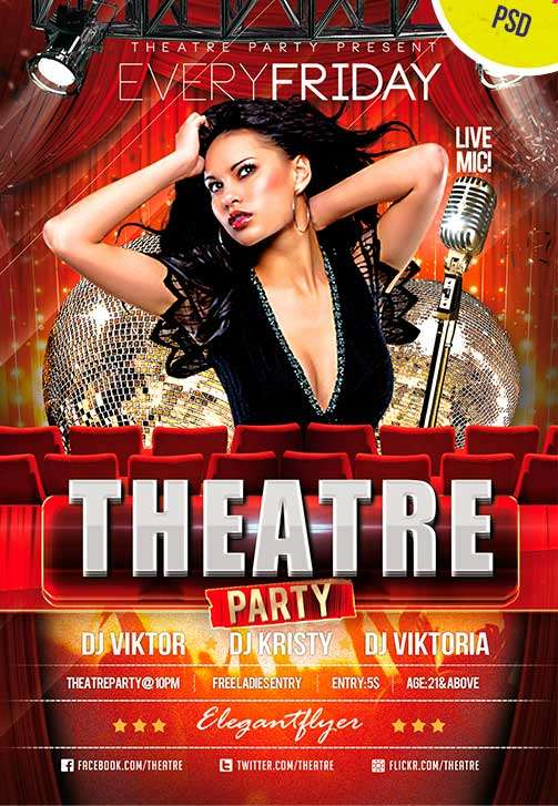FreePSDFlyer Theatre Party Club and Party Free Flyer PSD Template