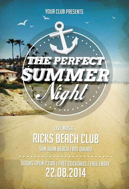 FreePSDFlyer Download Free Perfect Summer Nights Flyer Template - free landscape flyer templates