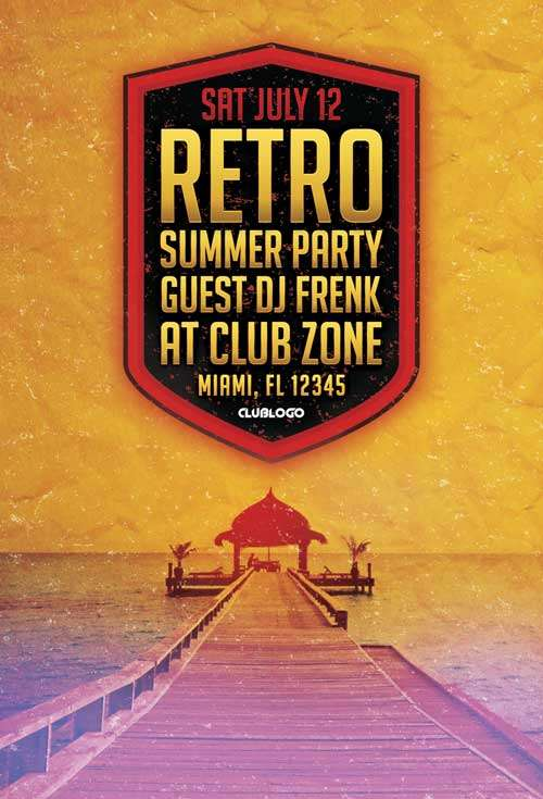 FreePSDFlyer Download Free Retro Summer Party Flyer Template for