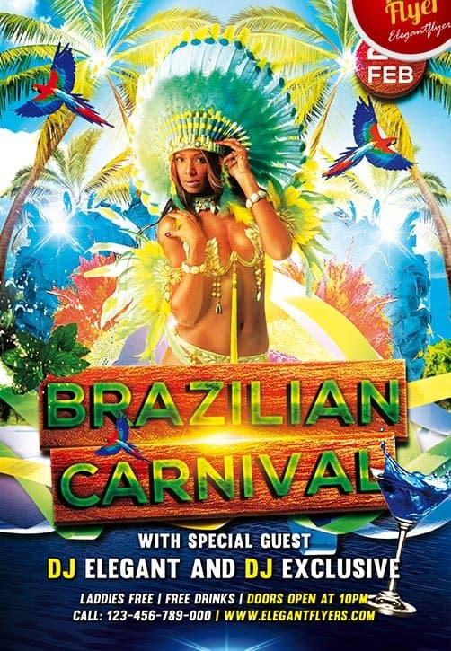 Free Brazilian Carnival Flyer PSD Template - Download FreePSDFlyer