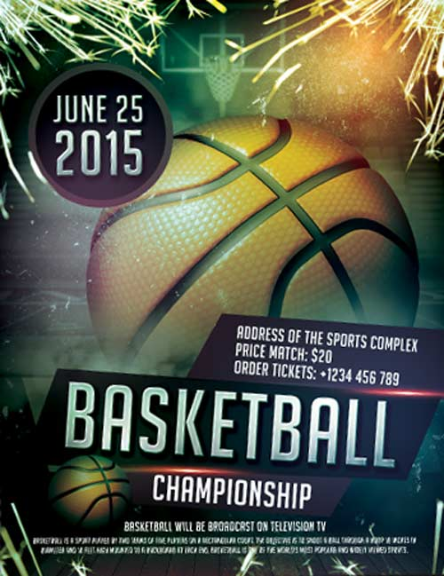 FreePSDFlyer Free Basketball Sports Flyer Template - Download Free - basketball flyer example