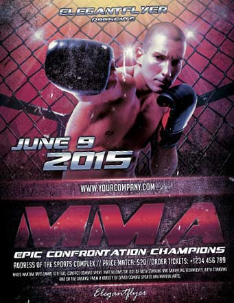 FreePSDFlyer Free MMA Boxing Sports Flyer Template PSD Download