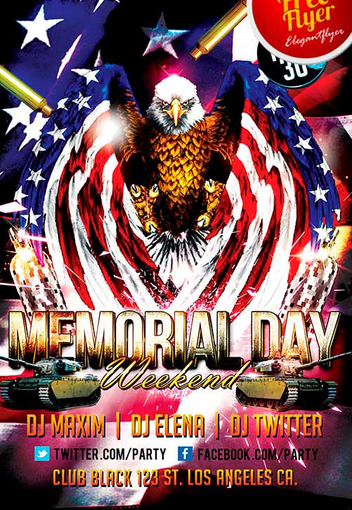 Free Memorial Day Weekend Party Flyer Template Download - free memorial template