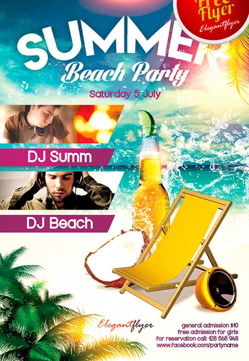 FreePSDFlyer Free Summer Beach Party PSD Flyer Template